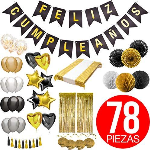 """Decoracion Cumpleaños - Pack Incluye Pancarta """" Feliz Cumpleaños"""", Globos, Guirnaldas, Banderines, Pompones, Cortinas y Mucho Mas"""