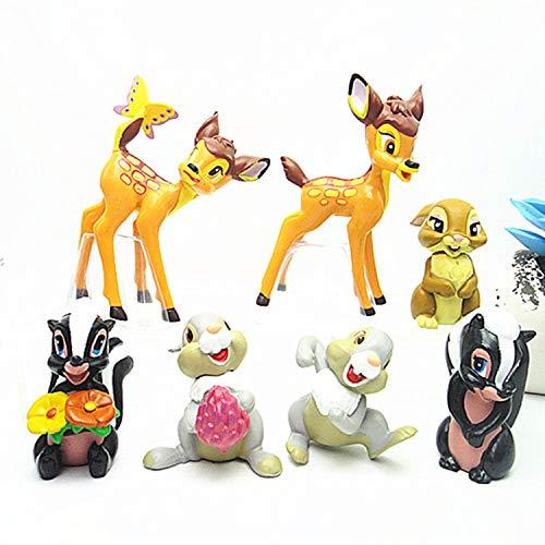CYSJ Bambi Cake Topper 7 Pcs Conejito Ardilla Decoración de Tartas Figuras Decoración para Tarta de cumpleaños de Animales de Dibujos Animados del Fiesta Suministros