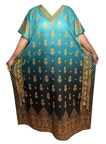 Decoraapparel Digital Print moomoo Kaftan Dresses for Women African Plus Size Casual Long Beach wear Boho Caftan Lounger (Sea Foam Gray Black 311-52L, 100% Cotton)