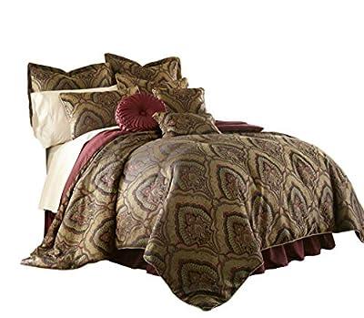 "Chezmoi Collection Seville 9-Piece Jacquard Black Gold Maroon Red Medallion Paisley Oversized Comforter Set, King 110"" x96"