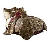 Chezmoi Collection Seville 9-Piece Jacquard Black Gold Maroon Red Medallion Paisley Oversized Comforter Set, King 110' x96