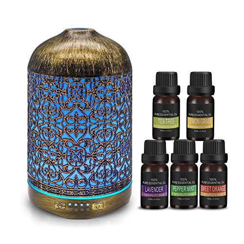 infinitoo 260ml Aroma Diffuser mit 5 Ätherische Öle Set, Luftbefeuchter Metall Aromatherapie Diffusor mit 7 Farbe Licht Vintage Raumbefeuchter Duftlampe für Wohnzimmer Kinderzimmer Schlafzimmer etc.