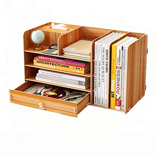 Organizador de escritorio de madera de varias capas con organizador de cajón, decoración del hogar (tamaño 48 x 23 x 28 cm, color: cereza)
