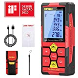 Laser Distance Meter, POPOMAN Lithium Battery Laser Measure with USB charging, 99 Sets Data Storage, M/In/Ft with Electronic Angle Sensor, 2.25' LCD Backlit,Measure Distance, Area and Volume- MTM120B
