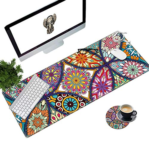 Desk Pad Mat Large Mouse Pad XL Extended Mousepad Gaming with Colorful Mandala 31.5' 11.8' Huge Mouse Pads for Computer Laptop Home Office + Cup Coaster and Cute Stickers
