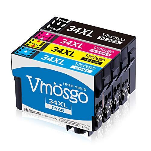 Vmosgo 34XL Patronen Ersatz für Epson 34XL 34 XL Druckerpatronen Kompatibel mit Epson Workforce Pro WF-3720DWF WF-3725DWF WF-3720 DWF WF-3725 DWF WF-3720 WF-3725 (Schwarz, Cyan, Magenta, Gelb)