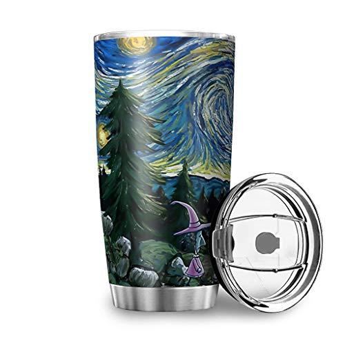Bannanabut Vaso de viaje Pesadilla antes de Navidad Noche estrellada Halloween Doble pared aislamiento al vacío vaso de viaje con tapa 20 oz botella de agua para oficina blanco 900 ml