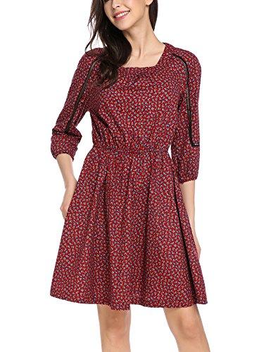 ACEVOG Damen geblümtes Kleid Knielang mit Langarm Elegant Sommerkleid Skaterkleid Blumenkleid Hippie Baumwolle Kleid