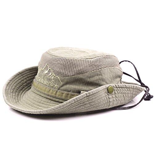 Kuyou Unisex Sonnenhut Fischerhut Boonie Hat Sport Outdoor Buschhut (Mesh Khaki)