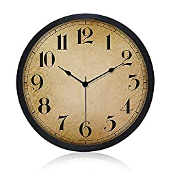 Gkwet Black Retro Wall Clock, Silent Non Ticking 10 Inch Quality Quartz Decorative Wall Clock, Round Easy to Read Home, Office, School Clock