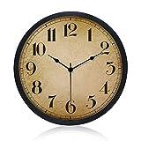 Gkwet Black Retro Wall Clock, Silent Non Ticking 10 Inch Quality Quartz Decorative Wall Clock, Round Easy to Read Home, Office, School Clock