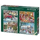 Jucon de Family Time at Christmas 4 x 1000 pièces Puzzle Puzzle Puzzle Puzzle Puzzle de Noël Adulte Enfant/Fille 12 année(s), Intérieur