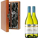 2 x Oyster Bay Chardonnay New Zealand White Wine in Elm Wood Gift Box With Handcrafted Gifts2Drink Tag