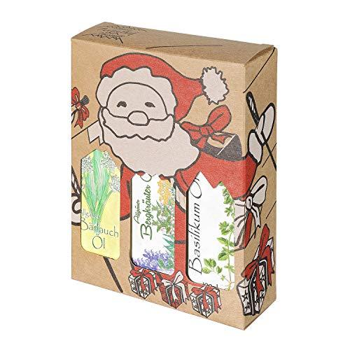 Weihnachts Genuss Box - Feinkost Geschenk-Set - 3 x 100 Milliliter Öl - Allgäuer Delikatessen in weihnachtlicher Geschenkverpackung