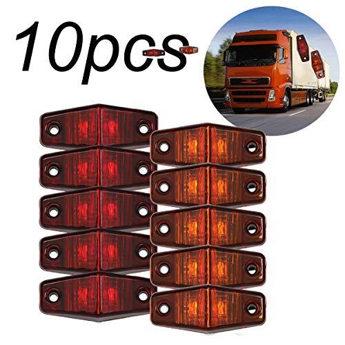 GOFORJUMP 10pcs Lampe de dégagement de feu de côté 12V 24V E-marquée Voiture Camion remorque arrière Lampe arrière Feux de stationnement