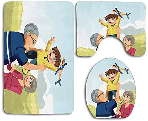 Trista Bauer Heureux garçon Jouant avec Les Grands-Parents au Parc des Souvenirs d'enfance de l'amour du Parc 3pcs Set Tapis Tapis