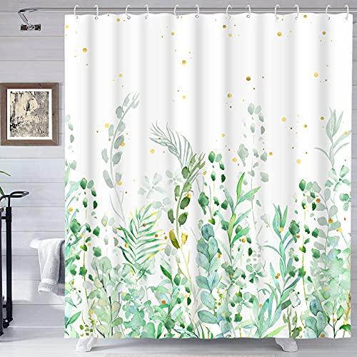 Floral Duschvorhang, Grün Duschvorhang, Weiß & Blaugrün Duschvorhang mit 12 Haken, Pflanzenblatt Botanischer Duschvorhang, Wasserdicht Duschvorhänge für Badezimmer