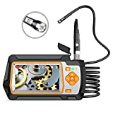 "Industrial Endoscope, 1080P Dual Lens Inspection Camera 5.5mm HD 4.3"" IPS Screen Digital Video Borescope, IP67 Waterproof Sewer Camera with 9.8ft Metal Cable, Snake Camera with 6 LED Lights,32GB Card"