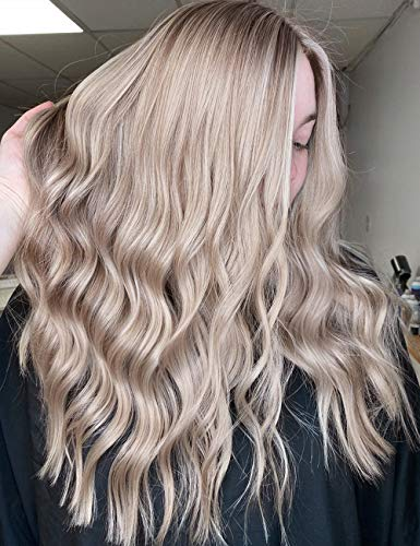 Ash Blonde Wig Nancy Best Hair, Long Natural Wavy Platinum Ombre Lace Front Wigs With Band for Women, Glueless, Dark Brown Root, 356°F, 150% Density Synthetic Wigs 18''