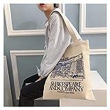 bolsa de lona Mujeres Bolsa de hombro de lona Shakespeare Impresión de las señoras Bolsas de compra de tela de algodón Tela de tela de comestibles bolsos de bolsos bolso para niñas