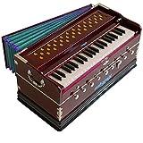 Harmonium Musical Instrument, Maharaja Musicals, 9 Stops, 3 1/2 Octave, Double Reed, Coupler, Dark Mahogany, Standard, Padded Bag, A440 Tuned, Indian Sangeeta Harmonium (GSB-43)