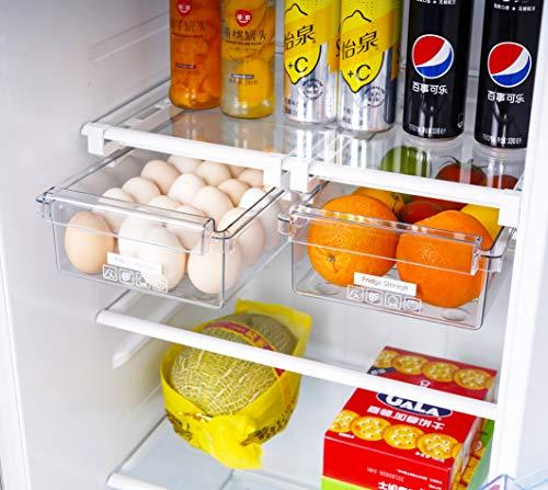 HapiLeap Organizer per frigorifero dal design unico, con cassetti estraibili e ripiani per frigorifero, organizer per la casa (confezione da 2)