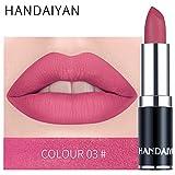 zroven HANDAIYAN Professional Matte 12 colori trucco rossetto labbra rossetto impermeabile lunga durata pigmento velluto opaco rossetto labbra opaco (3#)