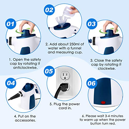 FFDDY MS69 Steam Cleaner, Handheld Multi Purpose High Pressure Chemical Free Steamer 350ML Big Tank Size, Cleaning for Home/Toilet/Bathroom/Auto/Patio/Grout, Blue