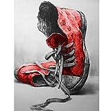 Owdqwg Pintura de Diamante DIY Zapatos Rojos Bordado a Mano Icono de Diamantes de imitación decoración del hogar Imagen 40x50 cm Diamante Redondo