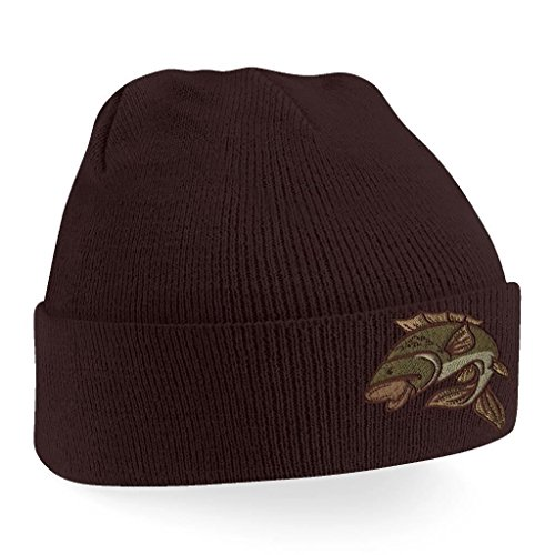 Bang Tidy Clothing Carp Fishing Angling Hobbie Winter Fathers day Embroidered Beanie Hat Logo Men's - Chocolate