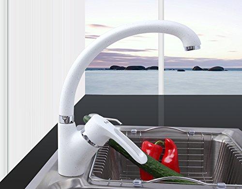 Tutoy Miscelatore A Spruzzo Multicolor Cucina Rubinetto Acqua Fredda E Calda Rubinetto Singola Maniglia 360 Rotazione-Bianco