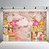 MEHOFOND 7x5ft Pink Gold Balloon Girl First Birthday Party Backdrops Sweet One Retro Brick Wall Cloud Gold Stars Photography Background Portrait Photo Studio Decoration Banner Props for Cake Smash