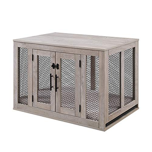 unipaws Furniture Style Dog Crate with Cushion and Tray, Mesh Dog Kennels with Double Doors, End Table Dog House, Medium Crate Indoor Use, Chew-Proof
