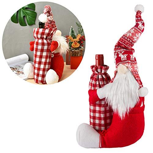PAMASE Weinflaschenüberzug mit Weihnachtswichteln, schwedische Tomte, Zwerge, Weinflaschen-Beutel, Baumwolle, Deko-Set für Weihnachten, Urlaub, Neujahr, Abendessen, Tischdekoration, Geschenk