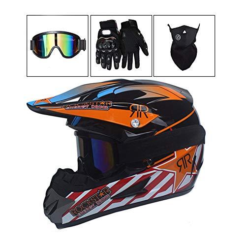 Casco de Off-Road para Adultos con Guantes Gafas de protecci/ón para Hombres y Mujeres protecci/ón YUCARAC Casco de Motocross Cascos Cruzados Casco de Seguridad ATV Casco de Moto Unisex