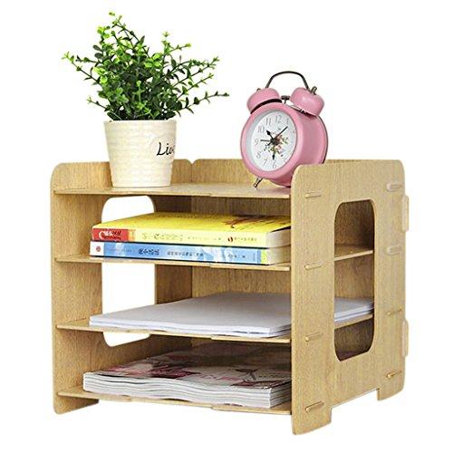 レターケース 木製 収納トレー マガジンファイル 本棚 3段式 横置き A4サイズ 書類/雑貨整理 小物入れ 文房具 オフィス用品 2カラー