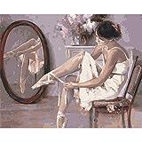 Para Adultos Juguetes Para Niños Bailarina Sentada En Una Silla Inicio Decoración De Arte De Pared Regalo Diy Color Por Números 40X50Cm-With Frame