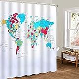 Badezimmer Duschvorhang mit 12 Ösen Wasserdicht Polyester Antimykotisch ca. 180x180 cm von Discoball (Weltkarte 1)