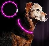 LED Collar Perro Collar de LED Recargable, Ajustable Collares LED para Perros Pequeños/Medianos/Grandes, 3 Modos de 12 Luces(Rosa)