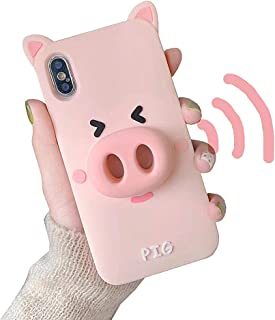UnnFiko Cute Cartoon Case Compatible with iPhone 6/ iPhone 6s, Loudspeaker Sound Amplifying Design, 3D Soft Silicone Protective Case Cover (Pig, iPhone 6 / 6s)