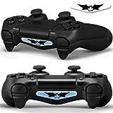 2x LED Sticker 2x Thumb Grips für PlayStation 4 Controller Light Bar Decal Skin Sticker – Bat Fledermaus Shadow Man Small