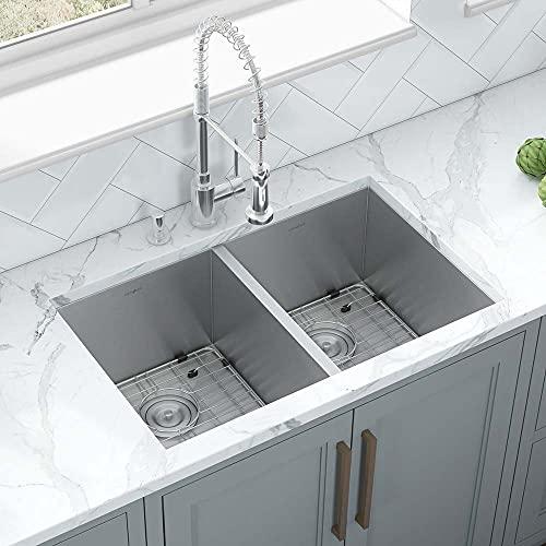 Ruvati 30-inch Undermount 50/50 Double Bowl Zero-Radius 16 Gauge Stainless Steel Kitchen Sink -...