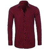 Camisa de Hombre Moda Todo fósforo Camisa de un Solo Pecho Primavera y otoño Camisa clásica de Solapa a Cuadros Camisa de Manga Larga Informal 42