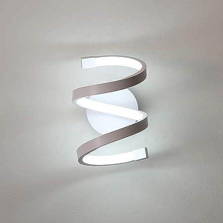 Goeco Applique Murale Interieur LED, Lampe Murale 18W spirale blanche, Luminaire Mural moderne pour Chambre Couloir Bureau
