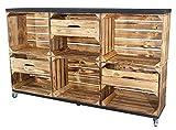 Vintage Möbel 24 GmbH Kommode aus Kisten und Bohlenbrettern auf Rollen, Regal, Raumtrenner in verschiedenen Größen (150x93x30cm mit 3 Schubladen)