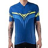 Lohca Maillot de ciclismo de manga corta de secado rápido con cremallera, rayas reflectantes, bolsillo multiusos. azul XL