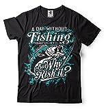 Silk Road Tees Camisa Divertida del Regalo tee Pesca Pescador la Camiseta de los Hombres por la Camisa Pescador 5X-Large Negro