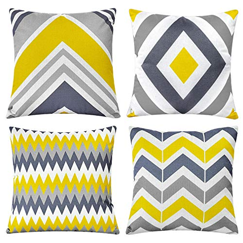 Cushion Covers 45 x 45 cm,Set of 4 pillow cover Cotton and Linen Pillow case Cushion Covers for Sofa outdoor garden bed couch cushions(Arrow-5)