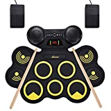 Asmuse Portable Electric Drum Set 9 Pads Built-in Dual Speaker Portable Practice Pads...