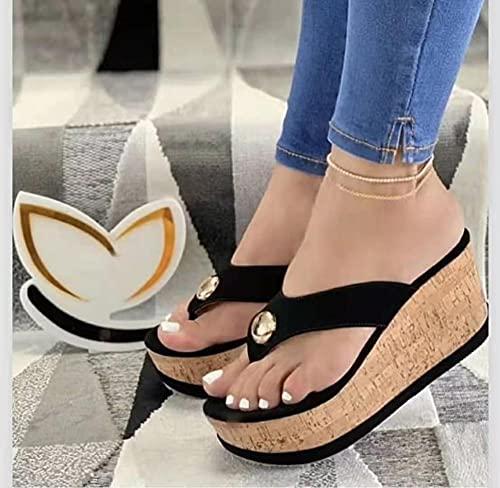 Flip Flop per Adulti,Songcake Pendio di Grandi Dimensioni con Sandali, Scarpe di Sabbia a Taglio di Fondo Spesso-Nero_34,Beach Flip Flops